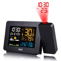 LED Weather Station Projection Alarm Clock Temperature Humidity+ Wireless Sensor