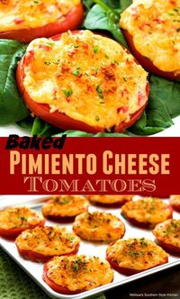 These Baked Pimiento Cheese Tomatoes are a Southern twist on roasted tomatoes. Thick slices of meaty beefsteak tomatoes are topped with homemade pimiento cheese