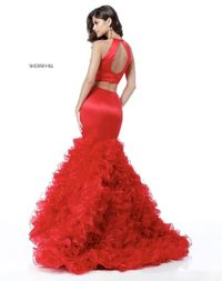 Red Sherri Hill 51801 High Neckline Fitted Long Ball Gown 2018
