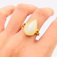 Hotan jade inlaid ring-925 silver ring-gold-plated ring-personal ring-engagement ring-two tone ring-agate female ring
