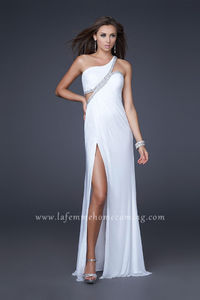 Long White La Femme 16379 One Shoulder Chiffon Homecoming Dresses with Front Slit