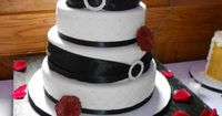 Black magic rose wedding cake
