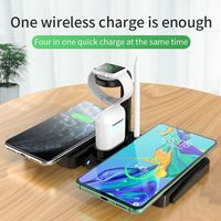 4 in 1 Desktop Double Coils Qi Wireless Charger Phone Charger Watch Charger Earbuds Charger for Qi-enabled Smart Phones Apple Watch Series 1 2 3 4 5 Apple AirPods Pro