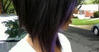 Long Inverted Bob   Long dark inverted bob with a small purple streak. I'll do this ballsy cut one day