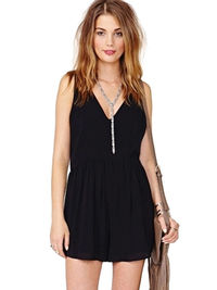 Sexy Style Deep V Neck Backless Ruffles Chiffon Jumpsuits For Women