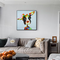 Puppy Paintings On Canvas art dog orange blue abstract acrylic original large wall art heavy texture palette knife wall art framed painting $93.75