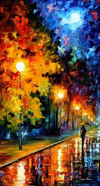 "Blue Moon �€"" PALETTE KNIFE Landscape Modern Impressionist Fine Art Oil Painting On Canvas By Leonid Afremov - so beautiful"