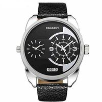 Mens Dual Dial Black and Silver Large Face Watch w/ Leather Bands $45.50