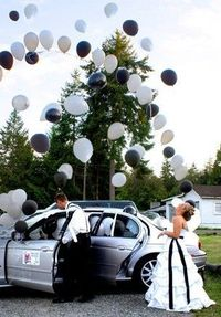 Fill getaway car with balloons. As you make your escape, the balloons will fly out in celebration! Cute!