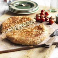 This Greek chicken pie is cooked in a frying pan for ease and speed. Try a slice as a light lunch or evening meal with a salad
