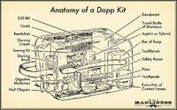 Anatomy of a Dopp Kit via The Art of Manliness. Illustration by Ted Slampyak.