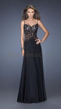 Black Two Straps Body Sequin Long Prom Dress