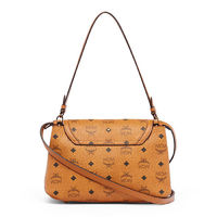MCM Small Gold Visetos Satchel In Brown