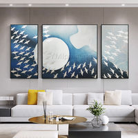 Set of 3 Wall Art Silver Abstract painting Acrylic Original paintings on Canvas wall Pictures cuadros abstractos home Decor Hand Painted $292.94