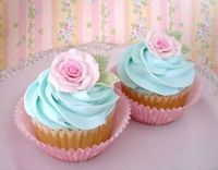 Baby blue frosting with light pink roses on a vanilla cupcake