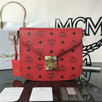 MCM Small Patricia Visetos Shoulder Bag In Red