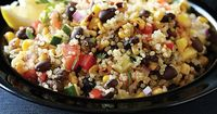 Southwest Quinoa Salad - Clean Eating. Linda's Additions: Use 1 can black beans instead of 1 cup, 1 avocado, 1 diced jalapeño, more cilantro in dressing.