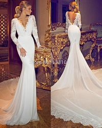 Online Shop Stunning Full Sleeve Appliques Lace Mermaid Wedding Dresses Satin Bridal Weddings Backless Bridal Gown For Women|Aliexpress Mobile