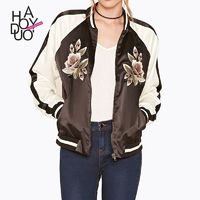 Vogue Embroidery Zipper Up Floral Fall Casual Coat - Bonny YZOZO Boutique Store