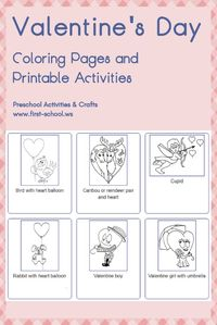 Enjoy free coloring pages for Valentine's Day to color, paint or crafty educational projects for toddlers, preschool, kindergarten and the young at heart.