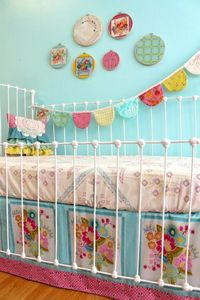 square dance, girl nursery bedding and bunting flags.