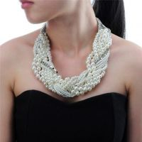 Fashion Jewelry Chain Mix Silver Color Chain White Resin Pearl Choker Statement Pendant Bib Necklace