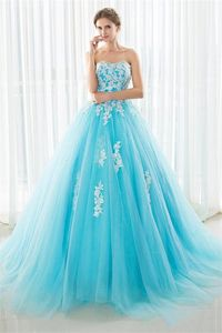 Fairy Ball Gown Strapless Turquoise Tulle Lace Beaded Prom Dress Lace Up Back