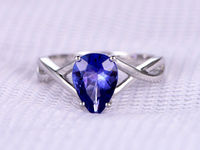 1.83ct Natural Tanzanite Engagement ring Solitaire Promise ring 14k White Plain gold Blue Stone Wedding Band Personalized for her/him Custom
