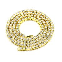 Gold Plated 1 Row Tennis Cubic Zirconia Iced Out Stone Chain Hip Hop Bling Necklace £29.95