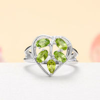 Sterling Silver Peridot Leaf / Heart Ring