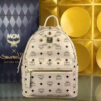 MCM Small Stark Crystal Four Studded Backpack In Beige