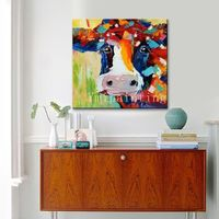 Cow paintings on Canvas farm animal painting Cow art Original oil painting impasto heavy texture huge size original painting framed Wall art $69.00