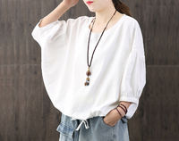 White loose cotton top,tops for women,women's tops,summer tops,cotton top,loose tops,cotton linen tops,Round neck top,Summer casual top $49.00