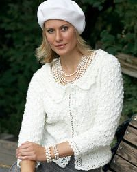 This elegant cardigan is a classic knit with a lacy-edge detail that looks absolutely beautiful for any special occasion. For the intermediate skill level, try