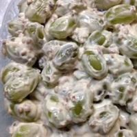 Green Grape Salad- dessert type fruit salad with cheesecake like sauce. Sub no/low fat sour cream and cream cheese and Splenda and its healthy