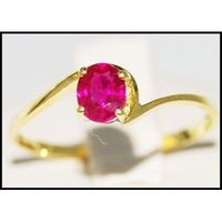 Genuine 14K Yellow Gold Solitaire Gemstone Ruby Ring [RR057]