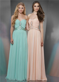 2014 Long Beaded Shirred Bust Prom Dresses