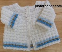 Free baby crochet pattern for coat http://www.justcrochet.com/textured-coat-usa.html #justcrochet #freecrochetpatterns