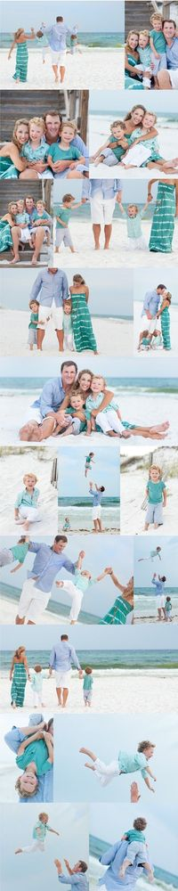 super cute family of 4. Look at the posing. See how all the heads are together tight. Love the actions shots with the dad tossing the kiddos. love the mom's dress and coordinating colors. But I'd love to see ya'll in pinks, creams, whites, etc...