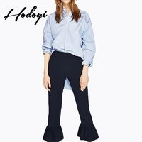 Must-have Vogue Slimming High Waisted One Color Fall Casual Flare Trouser - Bonny YZOZO Boutique Store