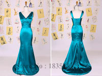 Ruched V Neck Mermaid Prom Gowns Satin Teal Cheap Mermaid Prom Dresses 2015