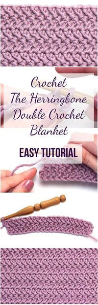 Follow this easy and free tutorial to learn how to crochet the herringbone double crochet blanket. The article comes with a free step-by-step video guide!