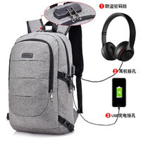 17 inch Laptop Backpack with USB Charging Earphone Port Anti-Theft Password Locker Bag Water Resistant Compurter Backpacks for Women Men Casual Hiking Travel Daypack