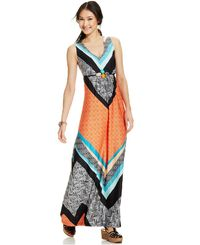 NY Collection Sleeveless Printed Embellished Maxi Dress