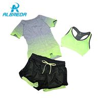 ALBREDA 2017 New Women Yoga Sport Suit Bra Set 3 Piece Female Short-sleeved Summer Sportswear Running Fitness Training Clothing $15.84
