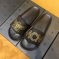 MCM Rubber Logo Silders In Black