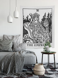 The Empress Tapestry - Rider Waite Empress Black and White Tapestry $35.00