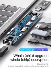 Baseus 7 in 1 Dual Type-c Male to Dual USB 3.0 RJ45 PD Fast Charge 4K HD Display TF Memory Card Reader Adapter HUB
