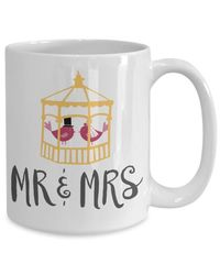 Summer wedding mr and mrs love birds gift white ceramic coffee mug $18.95