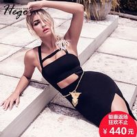 2017 new sexy slim backless neck strap high fork navel-baring dresses dress autumn - Bonny YZOZO Boutique Store